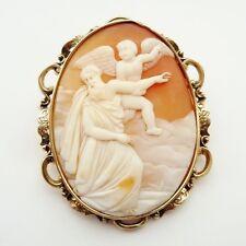 Antico primi grandi Victorian SHELL CAMEO 9CT GOLD FRAME C.1860 MOSE 'AL CIELO