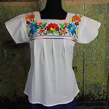 Multi Color on White Floral Blouse Oaxaca Mexico Hippie Cowgirl Peasant Santa Fe