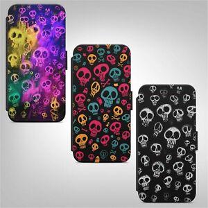 Skull Art Pattern Print Skulls and Bones WALLET FLIP PHONE CASE COVER