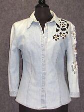 ROCCOBAROCCO Denim Blue Jean Shirt Blouse SZ M