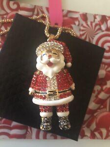 Betsey Johnson Necklace  SANTA CLAUS Red Gold CRYSTAL ENAMEL Gift Box Bag TkLk