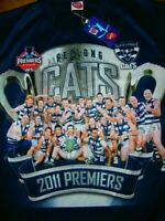 GEELONG CATS AFL 2001 PREMIERS CHAMPION JERSEY MEN L GUERNSEY SUPPORTER RARE DS