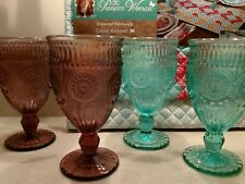 """The PIONEER WOMAN, Collection~TABLERUNNER, 4 GOBLETS and one 6"""" BOWL"""