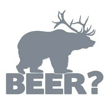 Bear+deer = Cerveza Funny Caza Broma coche ventana Vinilo Autoadhesiva De Plata Metálico