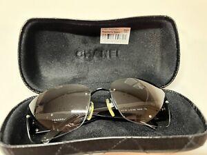 Chanel Sunglasses 4117-B Swarovski Crystal Black Frames CC w/ Quilted Case
