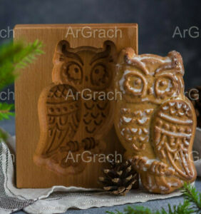 Owl mold, crafted wooden biscuit mold, cookie mold, gingerbread mold, Owl stamp