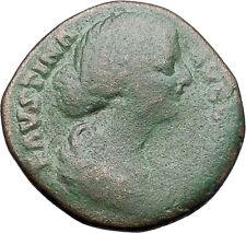 Faustina II wife of Marcus Aurelius Sestertius  Ancient Rare Roman Coin i47555