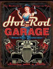 """Hot Rod Garage Metal Tin Sign Pin Up Girl Man Cave Decor 12.5"""" X 16"""" New"""