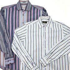 Bugatchi Uomo Dress Shirts Sz M Button Down Long Sleeve Striped Bundle Lot Of 2