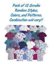 Scrub Shirts, No Color, Pattern, Style Choice, May have Logos, 12/Pack
