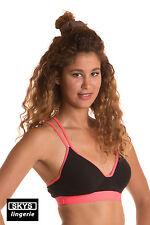 TINA brassière sport noire et rose Skys Lingerie Taille 90B