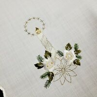 German Embroidered Christmas Table Square Vintage Linens Candle Flowers White