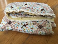 Vintage 70s Floral Quilt Handmade Baby Blanket Brown, Yellow, Flowers Lace Trim