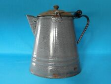 ANTIQUE GRANITEWARE GREY LARGE COFFEE POT TIN LID WIRE BAIL WOODEN HANDLE