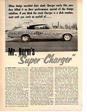 1967 MR NORM'S SUPER CHARGER FUNNY CAR 426 HEMI ~ ORIGINAL 5-PAGE ARTICLE / AD