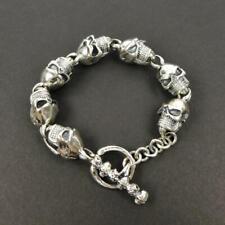 """Skulls Toggle Clasp 8"""" Men's Bracelet 53G Heavy 925 Sterling Silver Linked Large"""