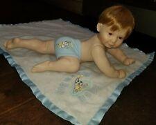 Ashton Drake Snug As A Bug Full Porcelain Boy Doll, Crawling Blanket 1994 Euc
