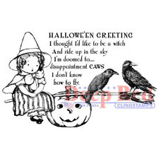 Deep Red Stamps Little Witch Rubber Cling Stamp