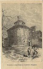 Stampa antica ALMENNO Rotonda di San Tomè Bergamo 1888 Old antique print