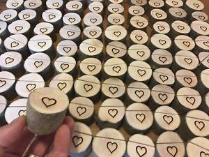 110 Wedding Table Card Holders Mini Log Holders Heart Engraved Rustic Wood 🇬🇧