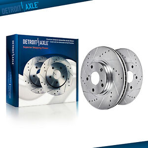 Fits Ram 1500 Pickup Front Premium Geomet rust protected Drilled and Slotted Brake Rotors MAXC1942RDS