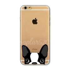 Voyeur Dog&Cat Pattern Clear TPU Case Cover For iPhone 4 4S 5S SE 5C 6 6S Plus