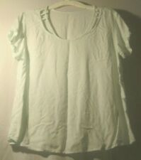 SO Size Large Light Green Unique Neckline Cutouts 100% Rayon Short Sleeve Top