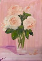 Print of original oil painting Art Vase of flowers impressionism shabby chic