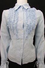 Taboo Basic One Women Blue Linen Button Down Shirt Classic Fashion Blouse Medium