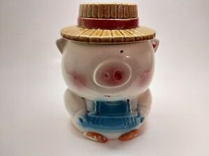 Vintage MCM Cookie Jar Pig in Overalls Straw Hat Made in Japan