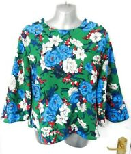 ❤ ZARA Size 10 -12 (S) Green Blue Red Floral Boxy Blouse Top Pearl Buttons Blog