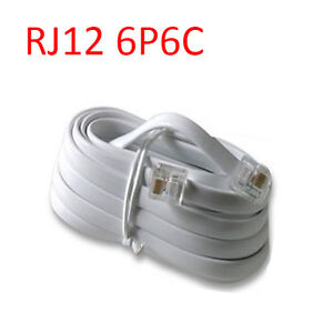 10 Ft RJ12 6P6C Reverse Telephone Line Cord Cable Wire for Voice - White