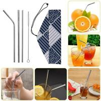 5pcs/Set Coffee Milk Reusable Stainless Steel Straight Bent Straw Cleaning Brush