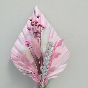 Pale Pink Palm Spear Mini Posy Dried Flowers ,Cake Topper.