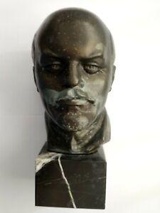 Lenin USSR Soviet Metal Head On Stone Base