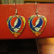 GRATEFUL DEAD Earrings; Freaked Out Swirly Stealie Guitar Pick Jewelry; SYF