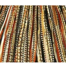 4-7 inch Black, Browns, Beige 100% Real Hair 5 Feather Extensions bonded at the