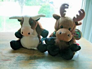 2 Coca-Cola Plush Toys 1998 VACA Argentina Cow & 1999 GOURMAND Moose Canada
