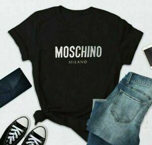 Moschino Printed Short T-shirt Sleeve Men Black Women White