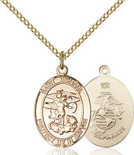14K Gold Filled St Michael The Archangel Mari Military Catholic Medal Necklace