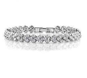 Silver Color Zircon Bracelet White Gold Plated Tennis Women Bridal Bracelet