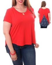 T47 New Womens Red Plus Size 22/24 Short Sleeves Layered Chic Party Blouse Tops