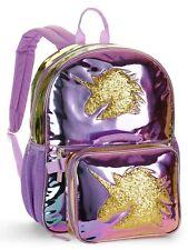 """Unicorn Metallic Color Change 16"""" Backpack With Detachable Lunch Bag"""