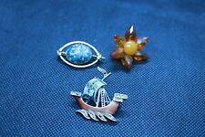 ,flower, stone detail custom jewellery 3 vintage brooches pins boat
