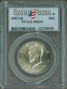 2007 D KENNEDY HALF DOLLAR PCGS MS 69 SATIN FINISH QUALITY✔️    *F
