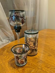 Yankee Candle Crackle Glass Trio Pine Cone Candle Holders