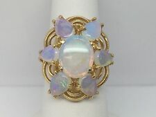 14K YELLOW GOLD GENUINE OPAL CLUSTER LADIES RING 6.0TCW SIZE 6.25