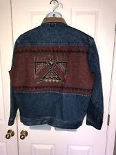 Vintage PENDLETON Western Wear Aztec Print Denim Wool Jean Jacket L NICE!
