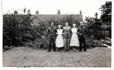 Postcard WW2 Territorial Army Soldiers With Family in Garden BEF RPPC 21