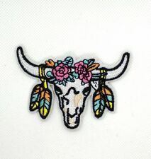 Cow Bison Skull Indian Western Cowboy Biker Motorcycle Sew Iron on Patches  181
